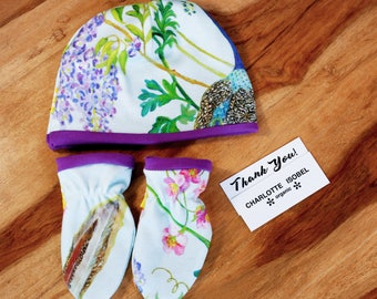 Peacock Baby Gift Set in Ultra Violet Baby Shower Gift Organic Baby Gift Set New Baby Hospital Set Hat and Mittens