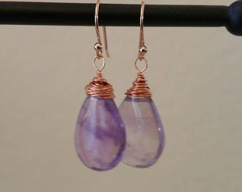 Genuine, Natural Copper Wire Wrapped Amethyst Earrings on Rose Gold Tone Ear Wires. Perfect Gift For The Holidays!