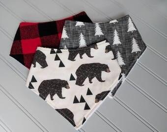 Baby Bandana Bib Set | Buffalo Plaid Bandana Bib | Bear Bandana Bib | Lumber Jack Baby | Boy Bandana Bibs | Baby Gifts