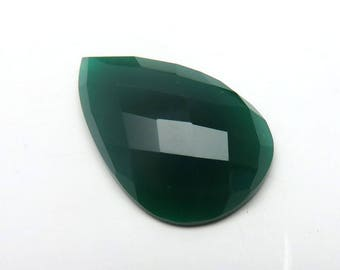 Green Chalcedony Pear Shape Faceted Checker Board Cut Loose Gemstone Top Quality Jewellery Making Precious Gemstone 32X20X7mm 28Cts RG-004