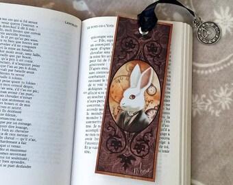 The White Rabbit - illustrated, laminated bookmark, handmade