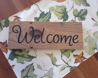 Rustic barnwood welcome sign