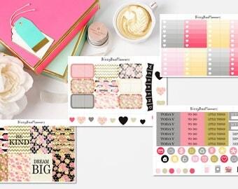 Dream Big Peony Weekly Kit- Erin Condren-Stripes