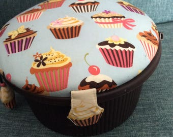 Cupcake sewing basket