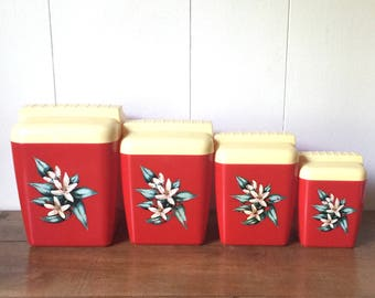 Vintage Burroughs Canisters, Bright Red Plastic Canisters, Vintage Burrite Canisters, Midcentury Kitschy Canisters