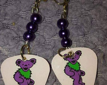 Grateful dead guitar pick earrings