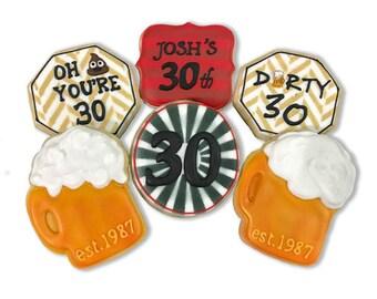 Dirty 30 Birthday Cookies / Beer Birthday Cookies - 3 Dozen