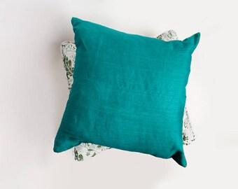 Teal Linen Pillow Cover, Teal Green, Pillow Cover, Linen Pillow Cover, European Linen, Bedroom Pillow, Living room Pillow, aqua pillow