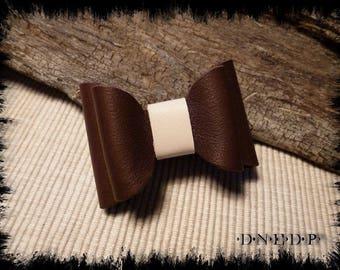 Magnet / Magnet refrigerator node Leather Brown and ecru