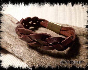 Unisex brown leather strands 4 - woven bracelet 22cm