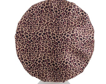 NEW Leopard Luxury MICROFIBRE Lined Shower Cap Ultra Protective Bath Hat Adults / Teenagers / Kids Shower Caps