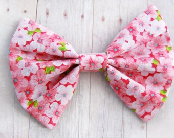 Pink Cherry Blossom Bow // Floral, Pink Bow, Cherry, Spring Accessories