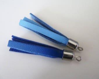 set of 2 blue and cobalt blue leather tassels hard