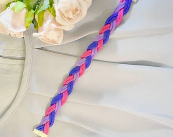 Tri-colored braided bracelet, double wide