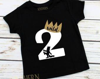 Where The Wild Things Are Birthday Shirt, Personalized  Two Wild Birthday, Max, 2nd Birthday, Two Birthday shirt, Cake Smash Second Birthday