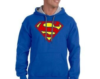 Superman Gildan Adult Heavy Blend 8 oz., 50/50 Contrast Hoodie