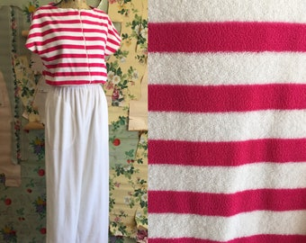 1980s/1990s Terry Cloth California Roc Pink Stripe Jumpsuit. Small. Comfy, cute, leisure ware.