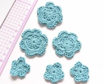 Set of 6 crochet your sea-green flowers