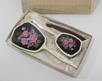 Vintage British Vanity Set Comb Brush Mirror 1950 s Chic Plastic Vanity Dresser Set of 3 in Original Gift Box, Never Used