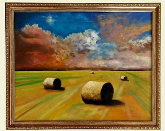 Haystacks Field Landscape Original Oil Painting on Canvas Framed Realism Signed English Landscape