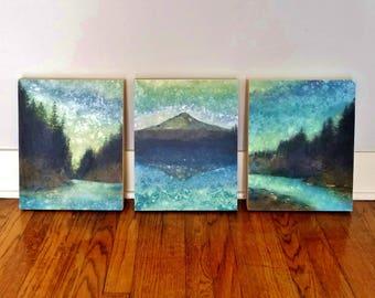 SET of THREE Forest Rain Paintings, limited edition prints on panels, Cascades, Mt Hood, Oregon art