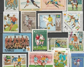 Thematic Football used postage stamps off paper, for collectors or craftsfolk for use in collage, decoupage and many other uses