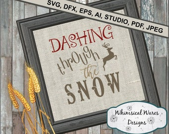 Christmas svg, dashing through the snow svg, christmas song svg, christmas digital download .studio3 file svg eps ai pdf files all included