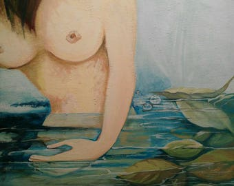 Acrylic painting on canvas, nude woman subject to bathing in water with leaves.