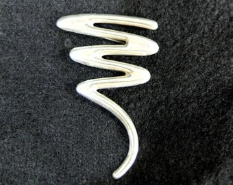 Vintage Sterling Silver Abstract Swish Brooch, Signed SU