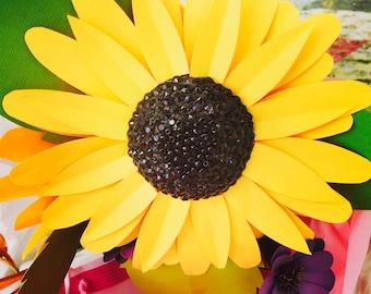 Paper sunflower, paper flowers, sunflowers, sunflower, yellow sunflower, hypoallergenic, allergy free flower, paper flower,