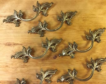 Vintage French Provincial Brass Drawer Pulls Cabinet Pulls Brass Furniture Pulls Brass Hardware Hollywood Regency Furniture Pulls