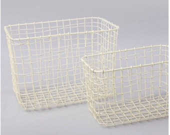 Set of 2 Wire Mesh Rectangular Baskets Cream Sass & Belle - Storage Solutions - Vintage Chic Baskets -