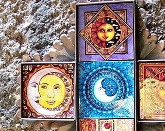 "Sun Blue Moon cross Mexican folk art ceramic tiles and metal collection of traditional images Hacienda decor wall art 8 3/4"" x 7""x 0 .5"""