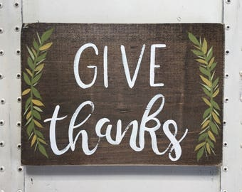 "Hand Painted ""Give Thanks"" Sign // Fall Decor // Thanksgiving Sign // Thanksgiving Decor // Thankful Sign // Fall Decorations // Fall Quote"