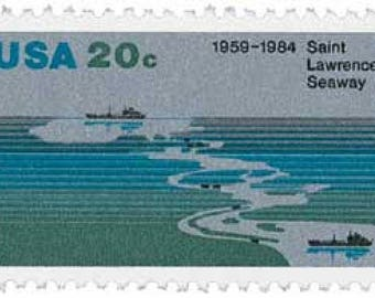 Pack of 25 Unused St. Lawrence Seaway Postage Stamps - 20c - Vintage 1984 - Unused - Quantity of 25