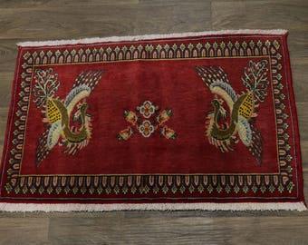 Charming Bird Design Small Unique Kashan Persia Rug Oriental Area Carpet 2'4X3'7