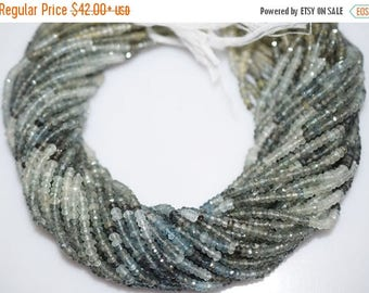 50% OFF AAA Quality Shaded Moss Aquamarine Faceted Rondelle Beads 13 Inch Strand ,Moss Aquamarine Faceted Rondelle , 3.50-3.75 mm - MC250