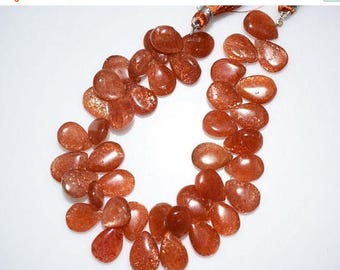 "50% OFF 1 Strand Sunstone Smooth Pear Shape Beads-Sunstone Pear Shape Briolette, 9.5x13 - 12x17 mm, 8"", BL828"