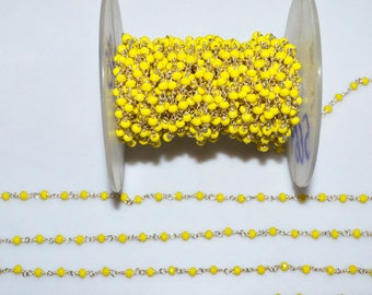 Brand New Mystic Yellow Opal Hydro Quartz Glass Rosary Bead Chain - Faceted Wire Wrapped Chain, Sold By Foot, 3 - 3.25 mm - RB5669