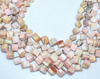 "1 Strand Natural Pink Peruvian Opal 3D Box Smooth Beads - Pink Opal Briolette , Plain 3D Box Briolette , 9-10 mm , 14.5"" - BL3732"