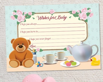 "Printable Tea Party Baby Shower Wishes for Baby Card, Four 5""x3.5"" Cards, Instant Download JPG (not editable)"