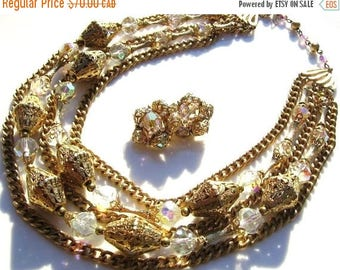 ON SALE Vintage gold and aurora borealis necklace with matching clip on earrings
