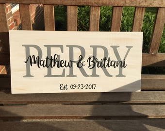 Custom Family Last Name Wood Sign | White Distressed Sign | Established Sign | Personalized Wood Sign | Wedding Gift | Anniversary Gift