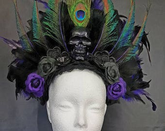 Peacock headpiece in purple black / Peacock feather skull skull kokoshnik purple black MADE TO ORDER