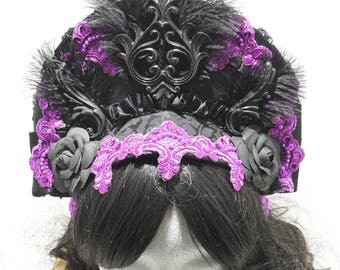 Purple Baroque headpiece with feather and flowers, ready to ship