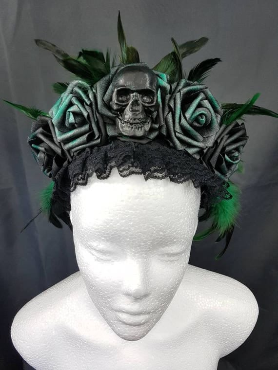 Gothic skull roses headpiece green black / resin skull rose headpiece in Green Black