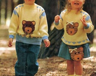 Childs Teddy Bear Motif Jumper Knitting Pattern pdf, sizes 3, 4, 5, and 6 years