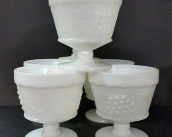 Vintage milk glass dessert cups.  Grape design.  Set of 6.