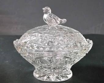 Genuine leaded crystal, W. Germany, Miller Import.  Bird trinket box