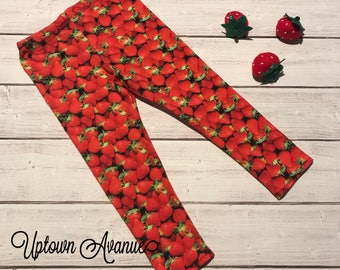 Strawberry Leggings - summer leggings - fruit leggings - produce leggings - citrus leggings
